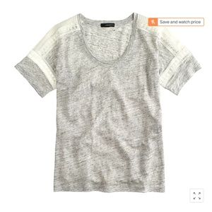 J.Crew embroidered linen lace t-shirt